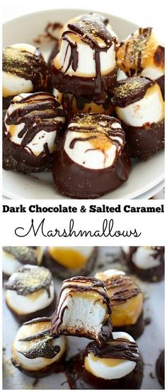 Snacks or favors for wedding: Dark Chocolate Salted Caramel Dipped Marshmallows - Easy and INCREDIBLE! Candy Recipes, Sweet Recipes, Dessert Recipes, Just Desserts, Delicious Desserts, Yummy Food, Healthy Food, Yummy Treats, Sweet Treats