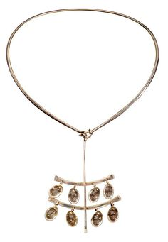 "Necklace | Vivianna Torun Bulow-Hube for Georg Jensen.  ""Dew Drop"".  Sterling silver and quartz.  Mid century"