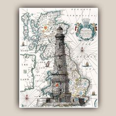 Vintage Lighthouse Print on antique map of Britannia, vintage map and illustration. This vintage Lighthouse is from a beautiful 1857 french illustration, digitally enhanced, over printed on old Britannia map reproduction. Image size is approximately 11x14 inches or 28 x 35.5cm Paper size is 11.7x14.7 inches or 29,7x37,2 cm It is printed on heavyweight archival white matte Epson paper with a 9 pigment inks printer. Also available in 8 x 10 inches (20.3 x 25.4 cm) https://www.etsy....