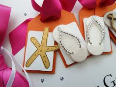 Starfish illustration and pretty crystal beaded female flip flops