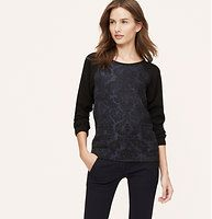 Jacquard Woven Sweatshirt - We dusted a hint of sparkle over this woven jacquard lovely. Crew neck. Long sleeves. Ruched elasticized cuffs and back hem.