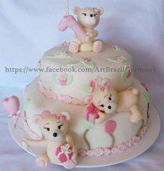 Bolo com ursinhos , urso , baby , bolo de aniversrio 1 ano , bbytirten , ursinhos de chocolate
