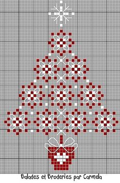 DIY: Christmas Tree Cross Stitch or chicken scratch. Xmas Cross Stitch, Cross Stitch Charts, Cross Stitch Designs, Cross Stitching, Cross Stitch Embroidery, Embroidery Patterns, Cross Stitch Patterns, Folk Embroidery, Blackwork
