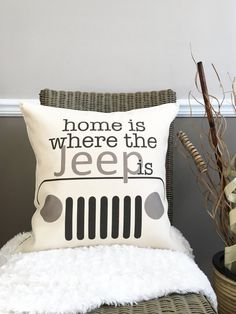 18 Home Is Where the Jeep Is Pillow Cotton by lovingLeighYours