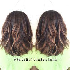 Subtle, dimensional balayage and rounded lob. @gina_bott #HairByGinaBottoni