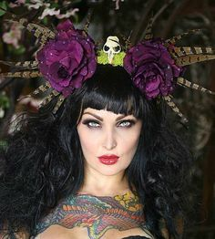 Custom Made Rose and Pheasant Feather Head Dress  by Taissa Lada/ Millinery Roses/Animal Skull/Feathers,Feather Headdress,Feather Crown