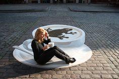 3D street Art. Looks like real coffee cup :)