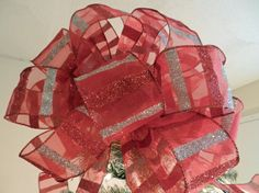 Large Christmas Tree topper bow Sheer red by creativelycarole, $30.00