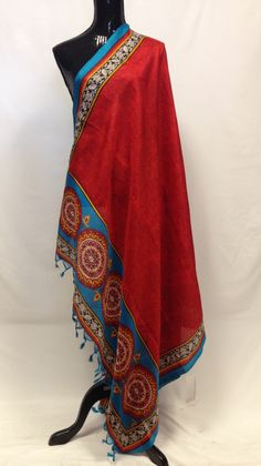 Semi Tussar Silk Printed Dupatta - Red