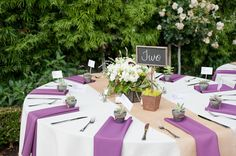 consider purple napkins with white tablecloth as opposed to the inverse.