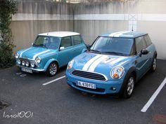 Original Mini in Oxygen Blue, next to a modern mini in Oxygen Blue! This is the color of my Mini :)