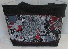 Asian Japanese Dragon Tattoo Large Tote Bag by Mokadesigntotes, $38.00
