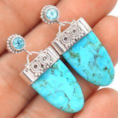 Sleeping Beauty Turquoise 925 Sterling Silver Earrings Jewelry SE123158 | eBay