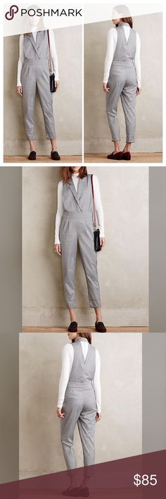 """Anthropologie plaid jumpsuit size Large NWT Anthropologie plaid jumpsuit size Large NWT Polyester, viscose; rayon lining Slim, tailored fit Side zip Dimensions 56.5""""L 27"""" inseam Anthropologie Pants Jumpsuits & Rompers"""