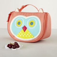 Owl Lunch Bag - soft handle with buckle unsnaps and attaches to backpacks, book bags, or strollers