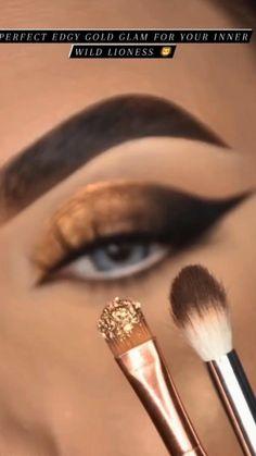Smoke Eye Makeup, Golden Eye Makeup, Asian Eye Makeup, Eye Makeup Steps, Makeup Eye Looks, Eye Makeup Art, Skin Makeup, Makeup Eyeshadow, Bronze Eye Makeup