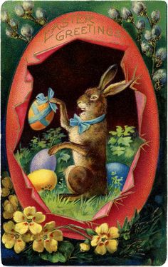 Victorian Easter Bunny Egg Image