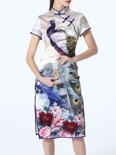 Printed/Dyed Silk Mandarin Midi Dress desgned by Taoyanshuo