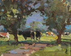 """Daily Paintworks - """"Painting Cows in Shade"""" - Original Fine Art for Sale - © Roos Schuring"""