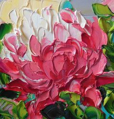 Oil Painting Original Impasto Bright Pink by IronsideImpastos, $40.00