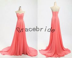 charming watermelon chiffon evening dresses cute sweetheart prom dresses long sweep bridesmaid dresses for wedding custom homecoming gowns