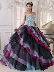 18338c9dd7 Diagonal Multi-color Layers Princess Wear Ebay Quinceanera Dress Sweet 15  Dresses