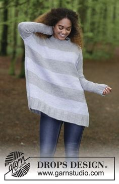 On the Horizon -Knitted jumper with stripes. Size: S - XXXL Piece is knitted in DROPS Nepal. Free knitted pattern DROPS 181-5
