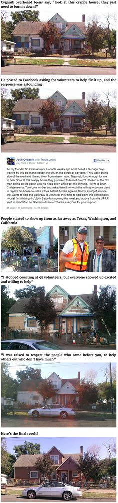 When railroad track inspector Josh Cyganik of Union Pacific heard local kids making rude comments about 75-year-old Leonard Bullock's home, he decided that he had to do something about it. On July 15th, he posted a message to Facebook, and the rest is history.