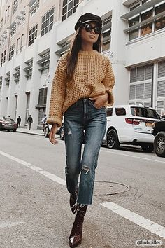 Product Name:Chunky Waffle Knit Sweater, Category:sweater, fall winter Outfits With Hats, Mode Outfits, Fall Outfits, Casual Outfits, Fashion Outfits, Knit Sweater Outfit, Jeans With Heels, Autumn Winter Fashion, Winter Style