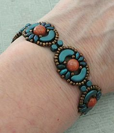 Linda's Crafty Inspirations: Bracelet of the Day: Tweaked Jolie Band - Petrol & Gold Luster