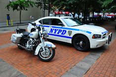 NYPD Harley Davidson and Charger
