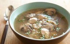 Chicken and Wild Rice Soup with Mushrooms