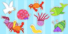Sharing a Shell Stick Puppets - roleplay, puppets, stories, books Cutting Activities, Eyfs Activities, Preschool Literacy, Early Literacy, Sharing A Shell, Book Area, Story Sack, Book Week Costume, Rainbow Fish