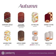 I'm not happy that summer is nearly over but I do love these designs! #cider #fox #harvest #leaves #apple #pie #jamberry #nails #autumn finefingers.jamberry.com