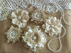 5 shabby chic vintage lace handmade flowers approximately - ***Shabby chic lace flowers are perfect for… Fleurs Style Shabby Chic, Shabby Chic Crafts, Shabby Flowers, Diy Flowers, Crochet Flowers, Fabric Flowers, Material Flowers, Shabby Chic Boxes, Shabby Chic Art