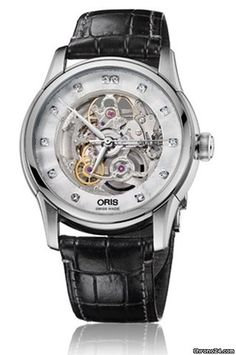 298467b9240 Oris Artelier Skeleton Dial Black Leather Diamond Mens Watch... for SOLD  for sale from a Trusted Seller on Chrono24