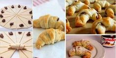 Delicious Nutella Croissants in 5 Easy Steps! Ingredients (serves 2 Sheets of Puff Pastry, thawed 1 cup of Nutella 1 Egg, beaten with 1 tbsp of water, this is what makes an egg wash Confectioner Sugar Croissant Nutella, Croissant Recipe, Chocolate Croissants, Mini Croissants, Torta Zebra, How To Make Nutella, 3 Ingredient Desserts, French Pastries, Sweet Tooth