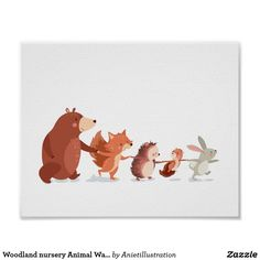Woodland nursery Animal Wall decal Kids Bear Fox Poster ♥ A cheerful poster, full with handdrawn animals.