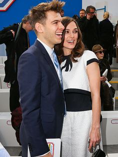 Keira Knightley (who wed in Chanel) and husband James Righton dress Chanel show during Paris Fashion Week.