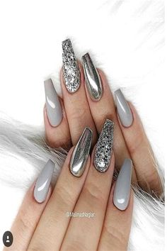 Top Trendy 57 Ideas For Acrylic & Gel Nail ArtLooking for some cool DIY Nail Art ideas? once it involves the simplest nail art styles, creative thinking is your supporter, though which means an artless thanks to get minimalist nails. Grey Nail Art, Grey Acrylic Nails, Gray Nails, Silver Nails, Cool Nail Art, Acrylic Gel, Sparkly Nails, Grey Art, Perfect Nails