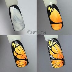 Fashion trends summer manicure new photos Butterfly Nail Designs, Butterfly Nail Art, Nail Art Designs, Sculpted Gel Nails, Animal Nail Art, Gel Nails French, Manicure E Pedicure, Gel Nail Art, Nail Tutorials