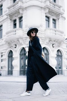 POLIENNE   wearing a MANGO coat, WEEKDAY wide pantalon, H&M knit and hat, ADIDAS Stan Smith sneakers
