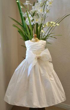 Christening Dress, Baptism Dress, Flower Girl Dress, Baby Girl Dress, 1st Year Birthday Dress, Special Occasion Dress - Off-White, Ivory
