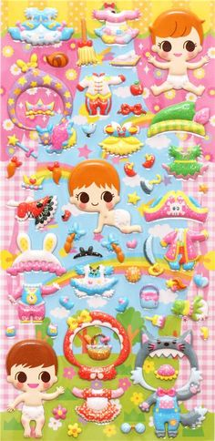 baby dress up doll puffy sponge stickers costume
