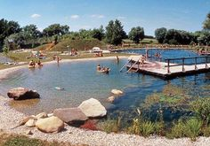 A natural swimming pool is a combination of a swimming pool and a natural pond. It comprises a swimming zone and a regeneration zone, which are separated by a barrier below the water surface. Natural Swimming Ponds, Natural Pond, Swimming Pools Backyard, Swimming Pool Designs, Evergreen Landscape, Farm Pond, Outdoor Ponds, Pond Landscaping, Pool Builders