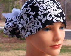 Womens Perfect Fit Ponytail Surgical Scrub Hat Cap- Black and White Damask 28fe18fbfaa1