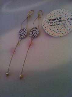Σκουλαρίκια απο χαρτοπολτο και μαργαριτάρια