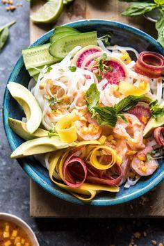 Vietnamese Shrimp Spring Roll Bowl With Sweet Chili Mango Sauce | halfbakedharvest.com #spring #summer #recipes #healthy #shrimp