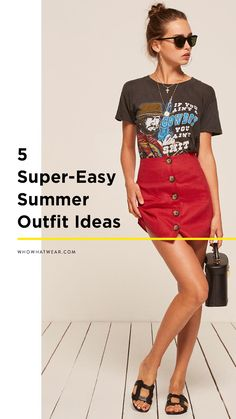 Running out of summer outfit ideas? Here are some fresh summer outfits you'll wear on repeat. Nerd Outfits, Skirt Outfits, Cool Outfits, Nerd Fashion, Diy Fashion, Fashion Outfits, Fashion Tips, Graphic Tee Style, Simple Summer Outfits