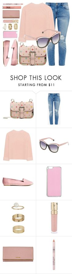 """April"" by smartbuyglasses ❤ liked on Polyvore featuring RED Valentino, Ted Baker, iHeart, Furla, Miss Selfridge, Smith & Cult, Prada, Too Faced Cosmetics and Pink"